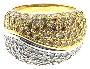 18k gold 2 cts yellow & white pave' diamond band