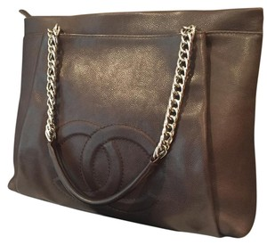 Chanel Cc Caviar Leather Tote in Dark Brown
