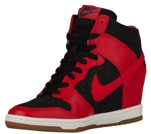 Nike High Top Trainer Red Black Wedges