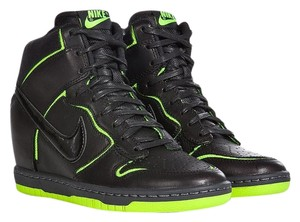 Nike High Top Trainer Black Green Wedges