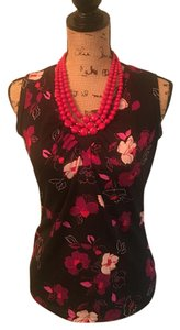 New York & Company Top Black Floral Print