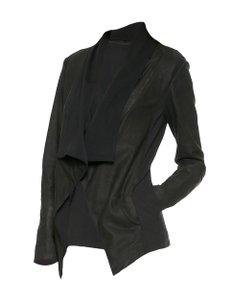 DKNY Lambskin Coat Cardigan Nubuck Leather Jacket