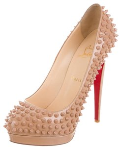 Christian Louboutin Patent Leather Spike Alti Beige Pumps