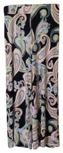 Charter Club 95% Rayon Wide Leg Pants Navy w/multi-color paisley design
