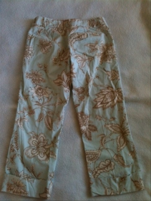Molly B Capris Light blue with tan and off white print
