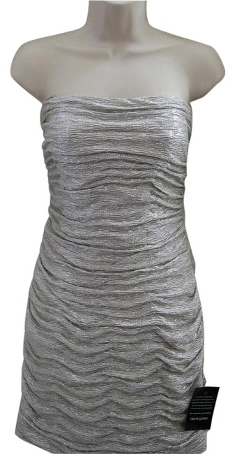 Item - Silver Strapless Mini Night Out Dress Size 6 (S)