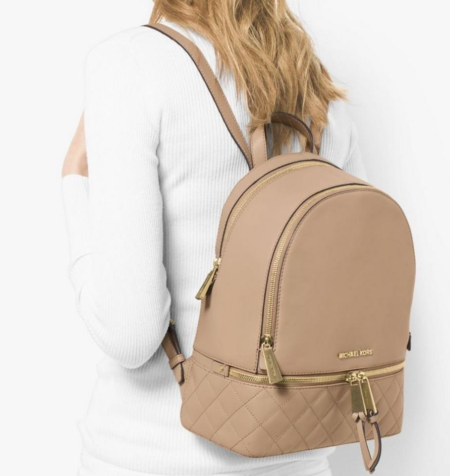 3824452064d8e MICHAEL Michael Kors Rhea Quilted Medium Bisque Leather Backpack ...