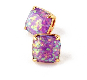 Kate Spade NEW Kate Spade New York Purple Glitter Studs Earrings 12k Gold