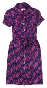Diane von Furstenberg short dress Pink Navy Cotton Shirt on Tradesy