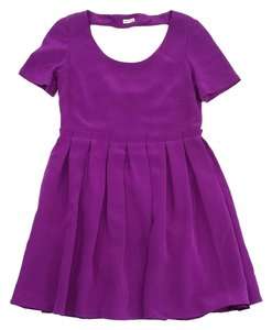 WAYNE short dress Magenta Silk Pleated Short Sleeve on Tradesy