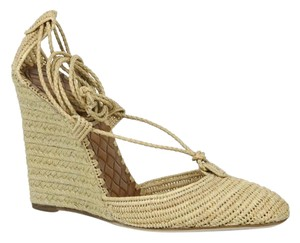Bottega Veneta Straw Wedge Ankle String 337830 Beige Sandals