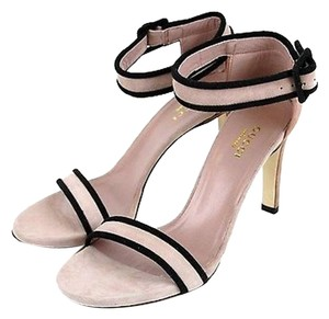 Gucci Suede Wankle Strap Pink Sandals