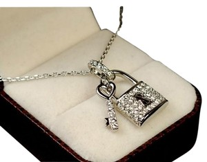 Austrian Crystal Key & Lock Pendant Necklace White Gold Plated