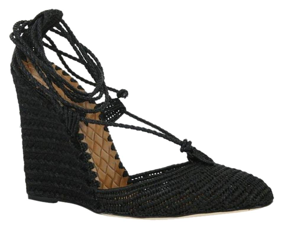 Bottega Veneta Black Straw Wedge W/Ankle 337830 String It / 10 337830 W/Ankle Sandals 4646cb