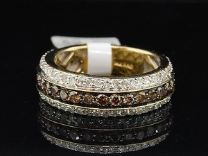 Jewelry For Less Brown Diamond Wedding Band Ladies 14k Yellow Gold Round Eternity Style Ring