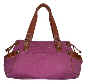 Fossil Large Satchel in Dark Pink