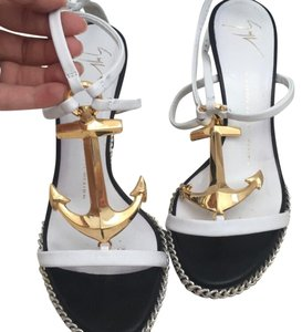 Giuseppe Zanotti Striped, white and gold Sandals