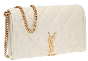 Saint Laurent Leather Chain Ysl Tote in off white