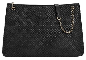 Tory Burch Marion Quilted Leather Tote in Black