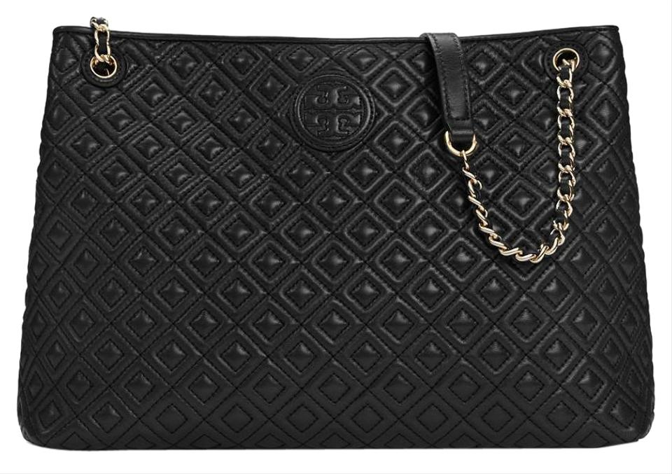 dd83c5ea01f24 Tory Burch Marion New Tags Quilted Chain Purse Black Leather Tote ...