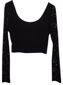 MINKPINK Lace Crop Top Black