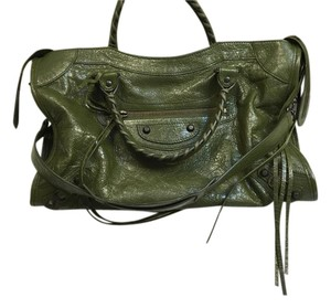 Balenciaga City Lambskin Motorcycle Satchel in Vert Veronese