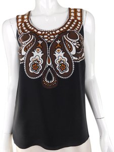Tibi Silk Paisley Print Top Black