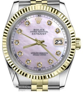 Rolex Ladies 31mm Datejust2Tone Pink MOP Dial with Diamond Accen