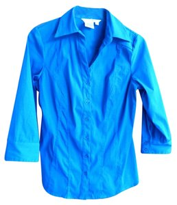 Como Clothing Stretch Fitted Top Royal Blue