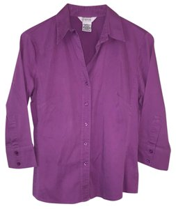 George Blouse Work Shirt Button Down Shirt Purple