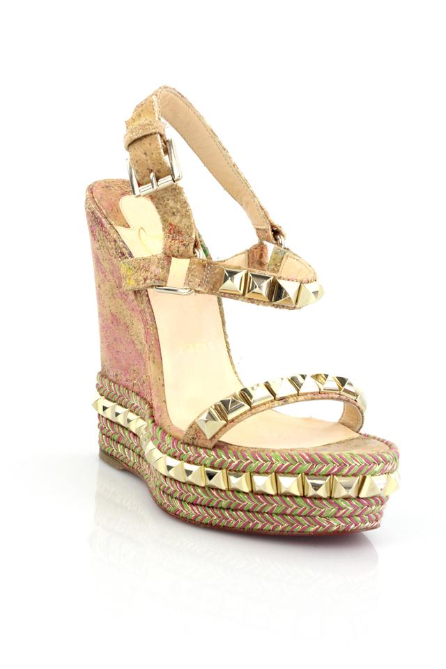 quality design fa01c 3bee8 Christian Louboutin Multicolor Cataclou 140 Cork Blooming Wedges Size US 5  Regular (M, B) 73% off retail