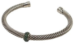 David Yurman Sterling Silver David Yurman Green Tourmaline Cable Candy Bracelet