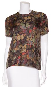Valentino Top Army Green Butterfly Print