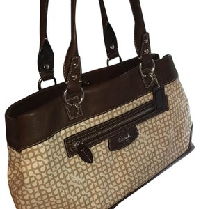Coach Satchel in Brown/cream/taupe
