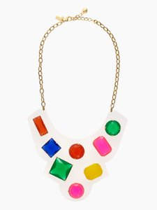 Kate Spade Kate Spade Cameo Jewels Bib Necklace Rhinestone Jeweled Clear Acrylic