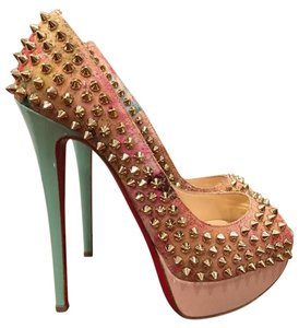 Christian Louboutin Lady Peep Spike Stiletto Patent nude Pumps
