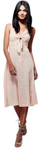 Pink Maxi Dress by Free People Linen Stripes Tie