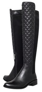 Vince Camuto Leather Quilted Above Knee Black Boots