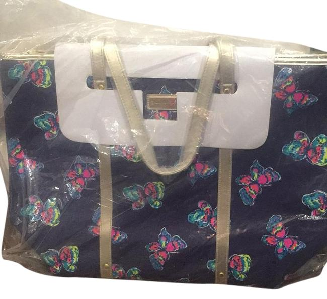 Item - Navy with Multi Colored Butterflies Canvas Tote