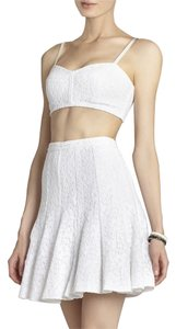 BCBGMAXAZRIA Lace Crop Top Skirt White