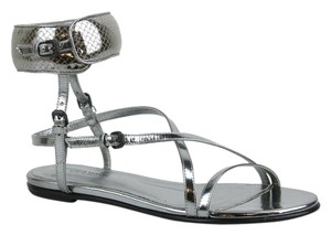 Bottega Veneta Leather W/woven 338281 Silver Sandals