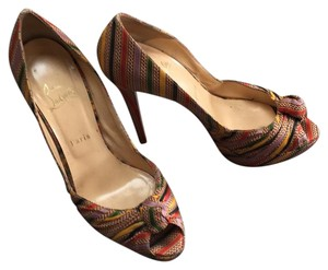 Christian Louboutin Striped red, black, green, and gold. Platforms