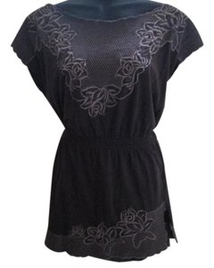 BCBGMAXAZRIA Embroidered Floral Flowy Knit Top Brown