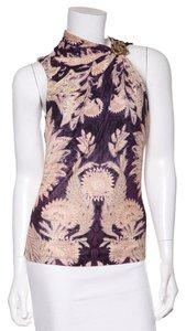 Roberto Cavalli Top Purple Tan Print
