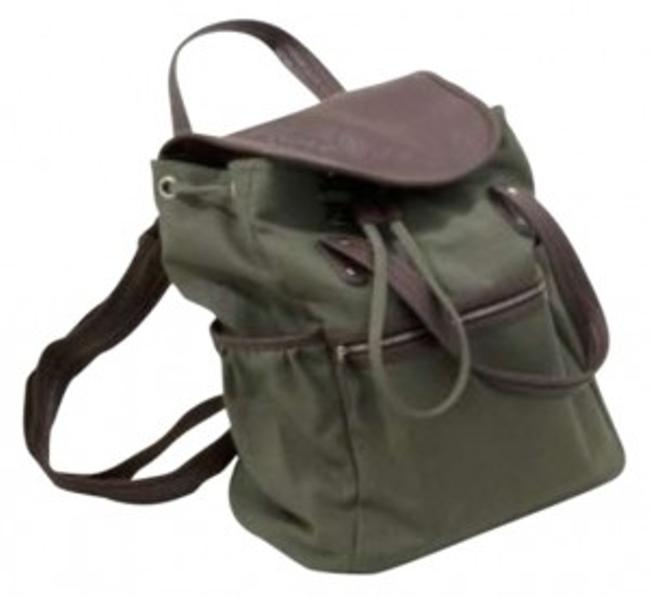 Item - Green with Double Leather Look Handles Olive Canvas Backpack