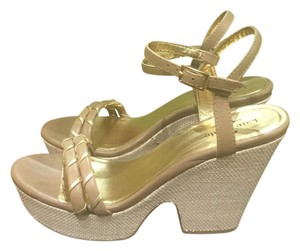 Kate Spade Caramel/Old Gold Metalic Nappa Platforms