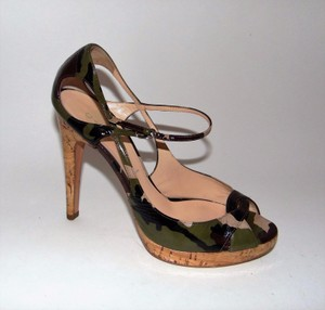 Casadei Patent Camo Sandals Multi-Color Pumps