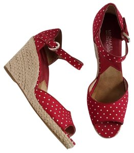 MICHAEL Michael Kors Polka Dot Red and White Wedges