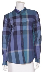 Burberry Brit Button Down Shirt Blue, Purple & White
