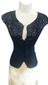 bebe Metallic Vest Top Navy blue